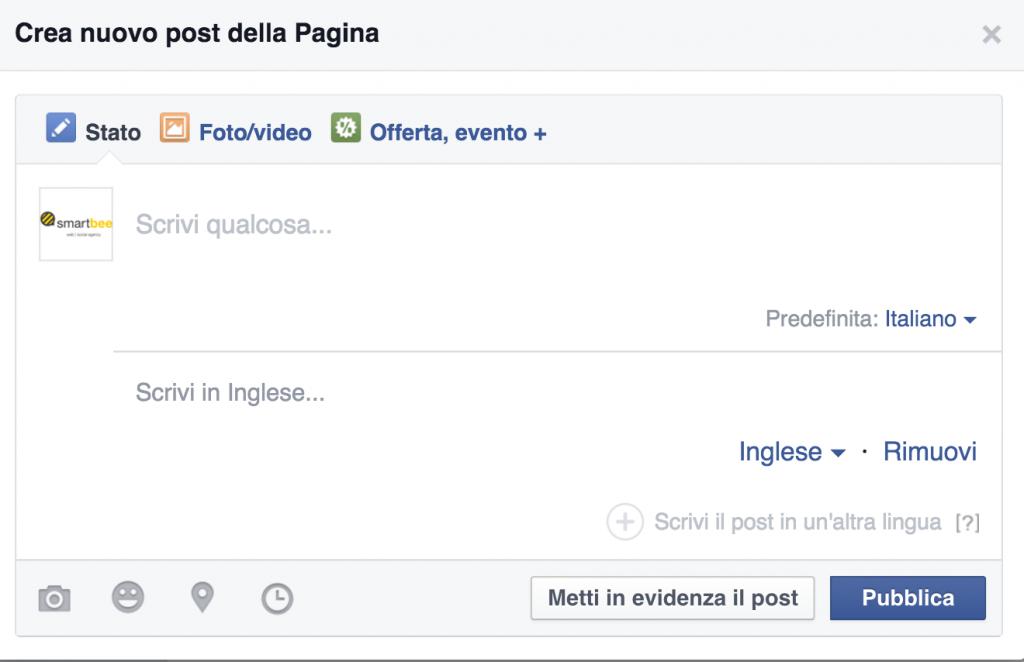 selezione lingua facebook